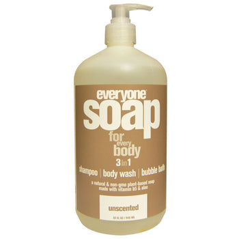 Everyone Soap - 3-in-1 Shampoo, Body Wash & Bubble Bath - Unscented