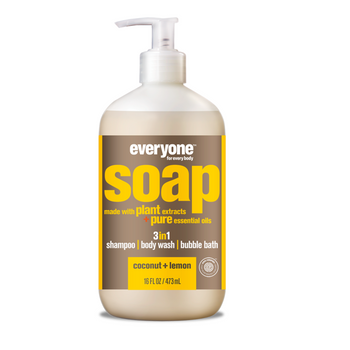 Everyone Soap - 3-in-1 Shampoo, Body Wash & Bubble Bath - Coconut & Lemon