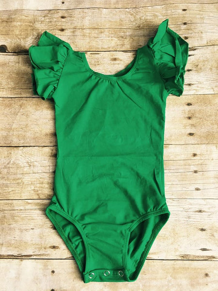 Emerald Green Flutter Sleeve Leotard