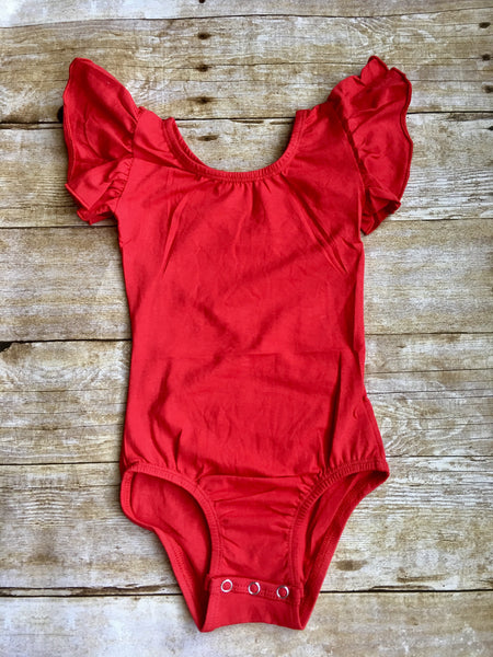 Red Flutter Sleeve Leotard