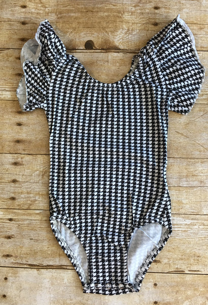 Houndstooth Flutter Sleeve Leotard