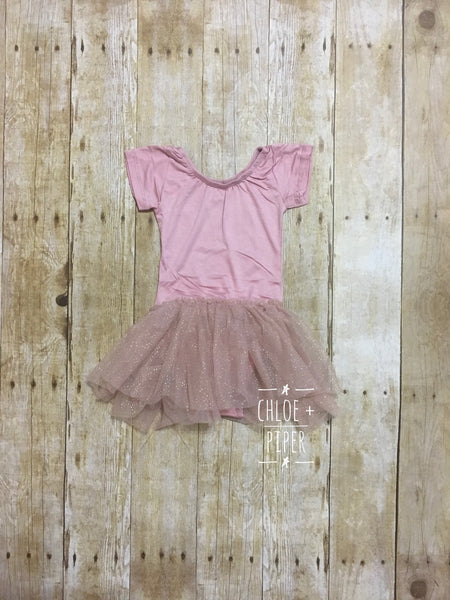 Mauve w/ Mauve Glitter Tutu Cap Sleeve Tutu Dress - Size up