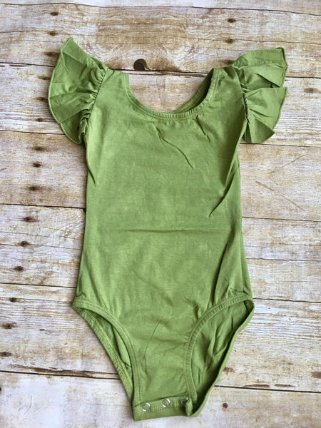 Olive Green Flutter Sleeve Leotard