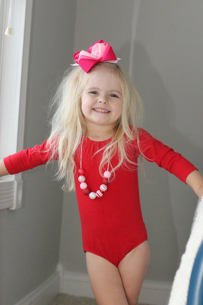 Red Long Sleeve Leotard