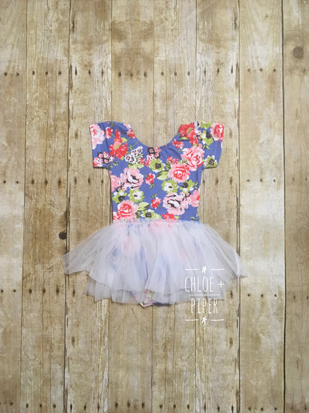 Blue Floral Cap Sleeve Tutu Dress - SIZE UP