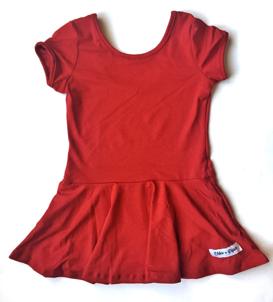 Red Skirted Cap Sleeve Leotard - Scoop Back