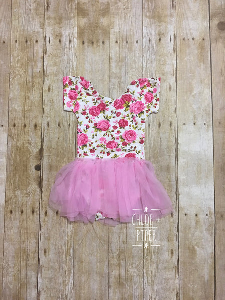 Ivory & Pink Floral Cap Sleeve Tutu Dress - Size Up