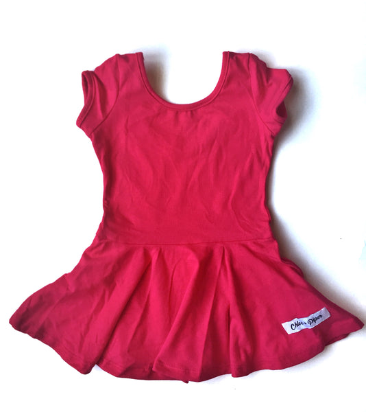 Strawberry Skirted Cap Sleeve Leotard - Scoop Back