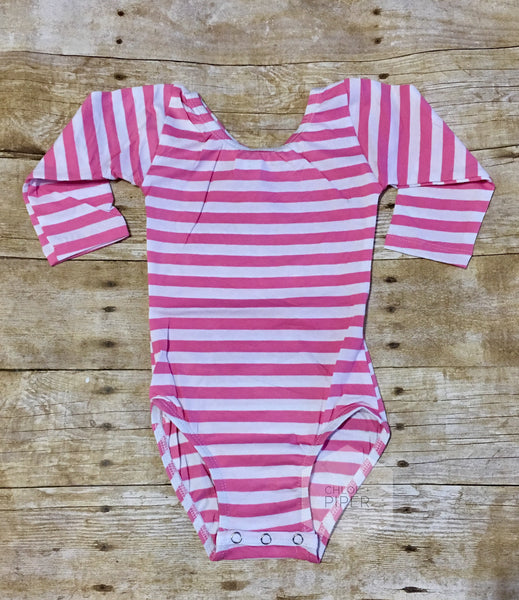 Pink & White Stripe Long Sleeve Leotard
