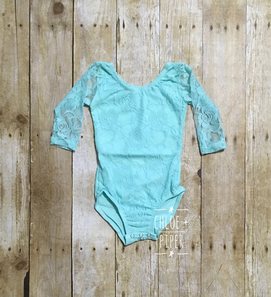 Mint Long Sleeve Lace Leotard - Size up