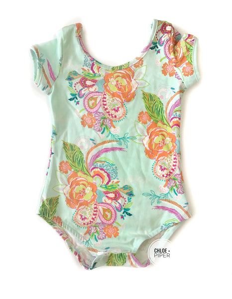 Precious Paisley Cap Sleeve Leotard (read description) - Scoop Back