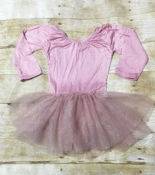 Mauve Long Sleeve w/ Mauve Glitter Tutu Dress - SIZE UP