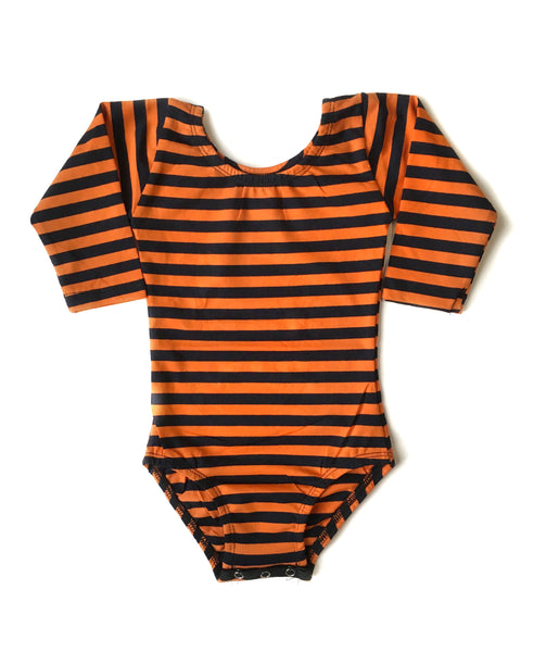 Orange & Black Stripe Long Sleeve Leotard