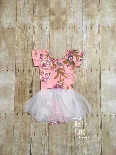 Pink & Purple Floral Tutu Dress - SIZE UP