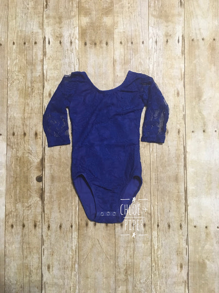 Royal Long Sleeve Blue Lace Leotard - Size up