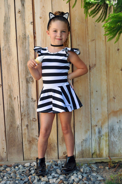Black & White Stripe Cap Sleeve Skirted Leotard - Scoop Back