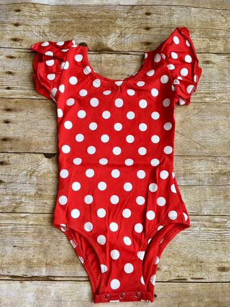 Red & White Dots Flutter Sleeve Leotard