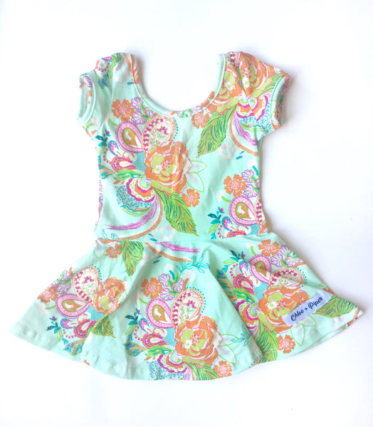 Precious Paisley Cap Sleeve Skirted Leotard - Scoop Back