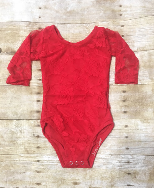 Red Lace Long Sleeve Leotard - I suggest sizing up