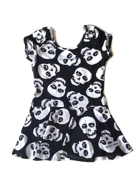 Skulls Cap Sleeve Skirted Leotard (read description) - Scoop Back