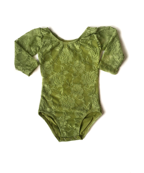 Olive Lace Long Sleeve Leotard - Size up