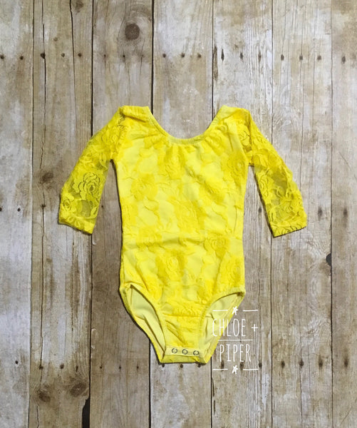 Yellow Long Sleeve Lace Leotard - Size up