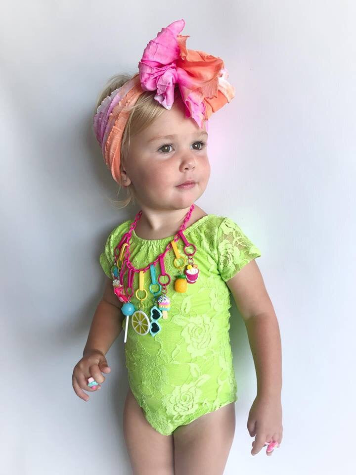 b89d87ea2435 Lime Green Short Sleeve Lace Leotard (size up) – Chloe + Piper