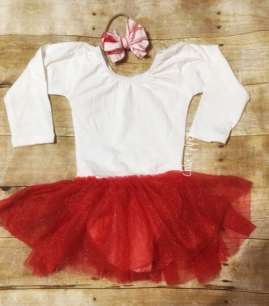 Ivory Long Sleeve Leotard w/ Red & Gold Glitter Tutu - SIZE UP
