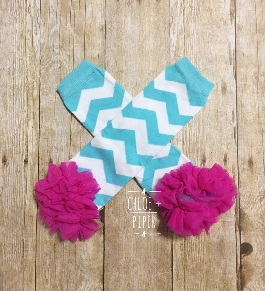 Blue Chevron Leg Warmers