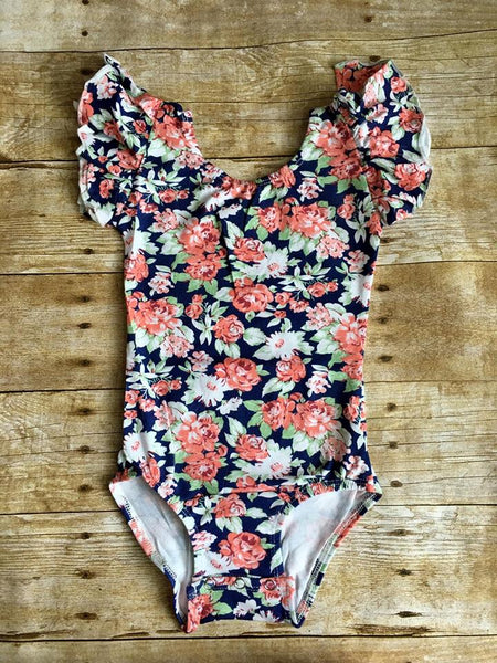 Navy Floral Flutter Sleeve Leotard