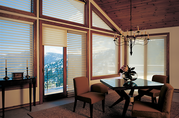 Hunter Douglas Silhouette Window Treatment dining room with nice view
