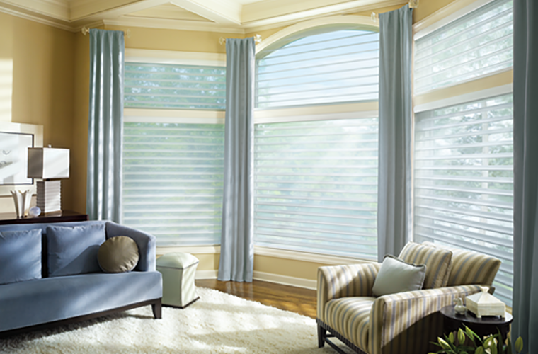 Hunter Douglas Silhouette Window Treatment sunlight filtered into bay windows