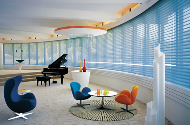 Hunter Douglas Silhouette Window Treatment panoramic wall of living space grand piano