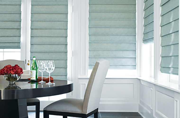 Hunter Douglas Window Treatment design studio roman shade romantic dinner