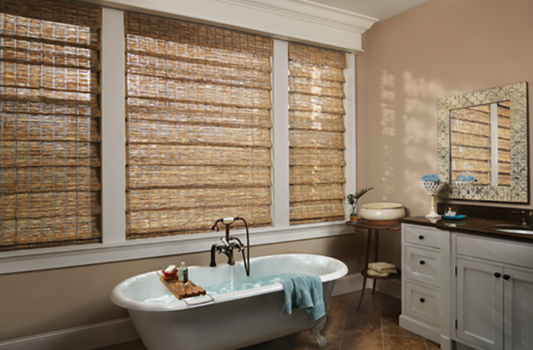 Hunter Douglas Window Treatment provenance privacy in bathroom