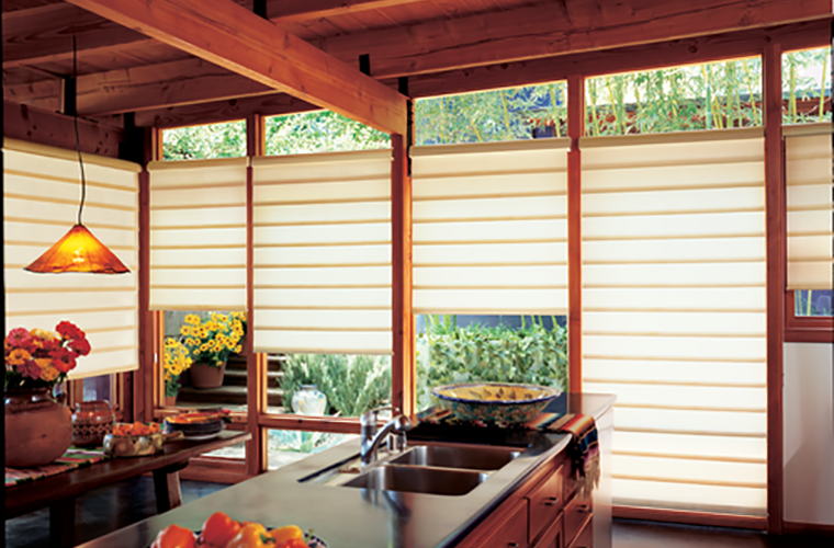 Hunter Douglas pirouette Window Treatment warm custom fitting kitchen