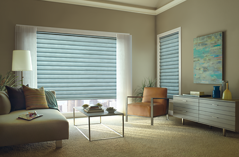 Hunter Douglas Window Treatment solera living room ready for a nap