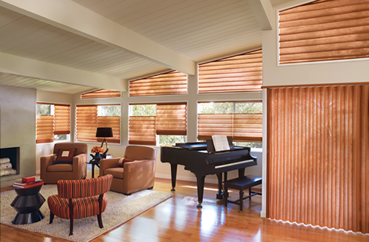 Hunter Douglas pirouette Window Treatment angled clerestory aperatures
