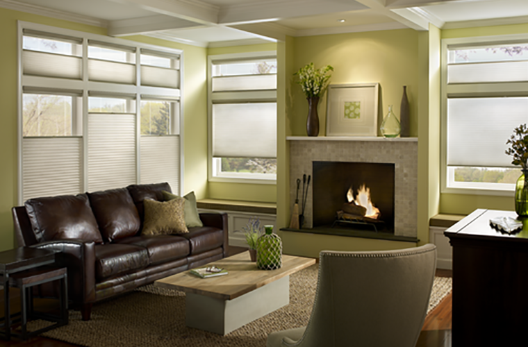 Hunter Douglas Window Treatment Applause living room with fireplace