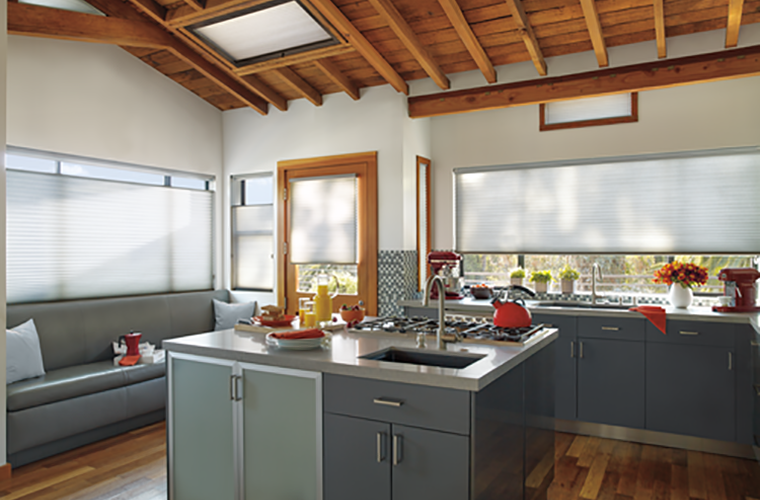 Hunter Douglas Window Treatment Applause skylight in kitchen