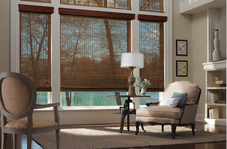 Hunter Douglas Window Treatment provenance rolled to let some light in