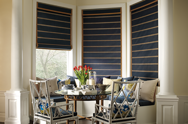 Hunter Douglas Window Treatment provenance two tone in breakfast nook