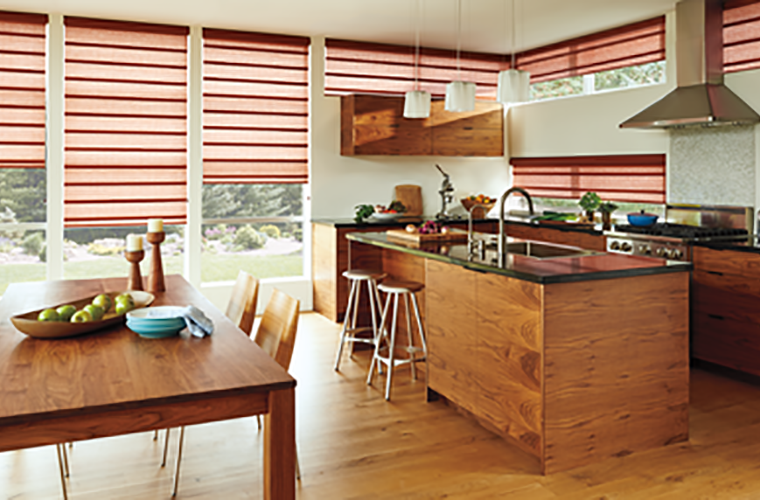 Hunter Douglas pirouette Window Treatment kitchen natural wood
