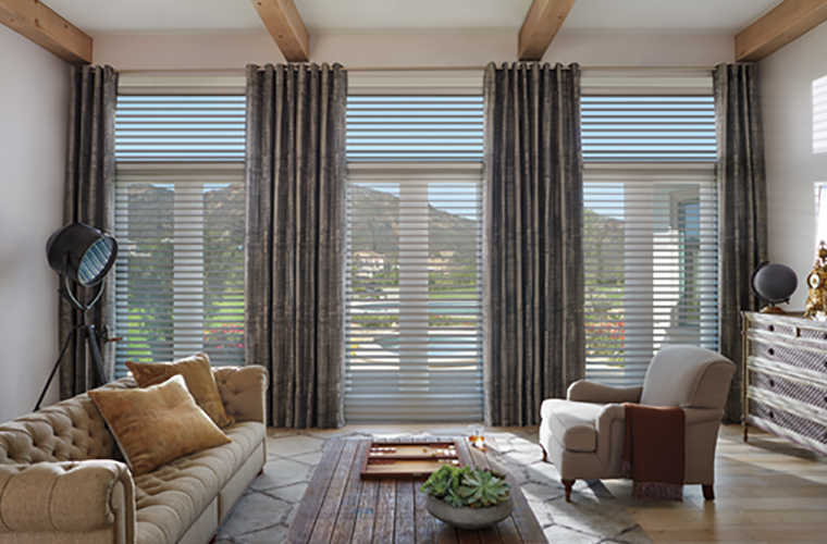 Hunter Douglas Window Treatment  design studio  living room with high ceilings and exposed beams