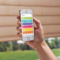 Personalized scenes to suit your lifestyle! Get the Hunter Douglas Powerview App to control your powerview shades. Hunter Douglas products availabe at Barrydowne Paint, Sudbury, ON