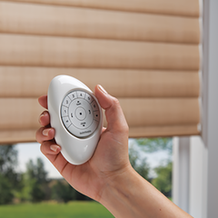 Hunter Douglas pebble remote, control your blind with one touch of a button. Powerview available at Barrydowne Paint Sudbury, ON