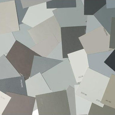 image of multiple gray paint color chips laid out on top of one another