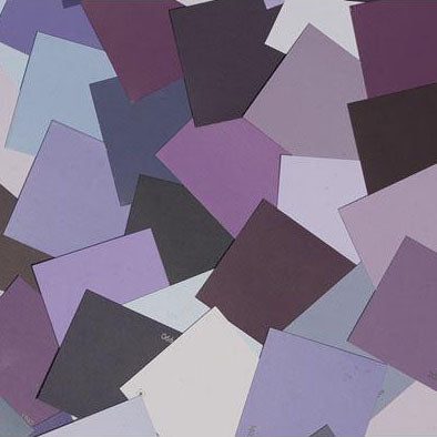 mage of multiple purple paint color chips laid out on top of one another
