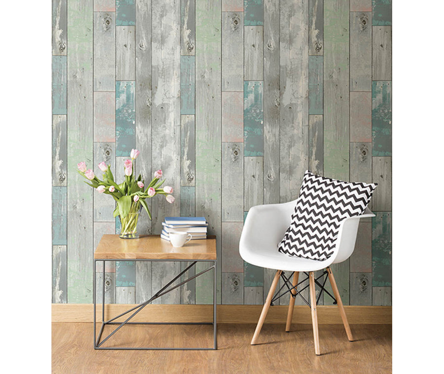 Deena Turquoise Distressed Wood Wallpaper available at Barrydowne