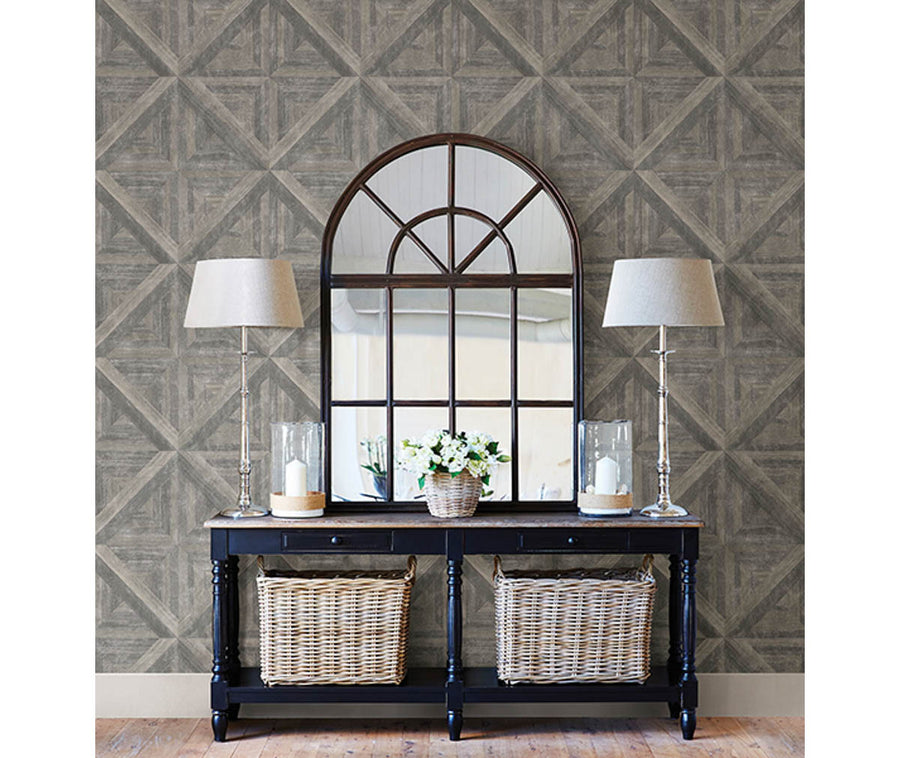 Carriage House Taupe Wood Wallpaper available at Barrydowne Paint